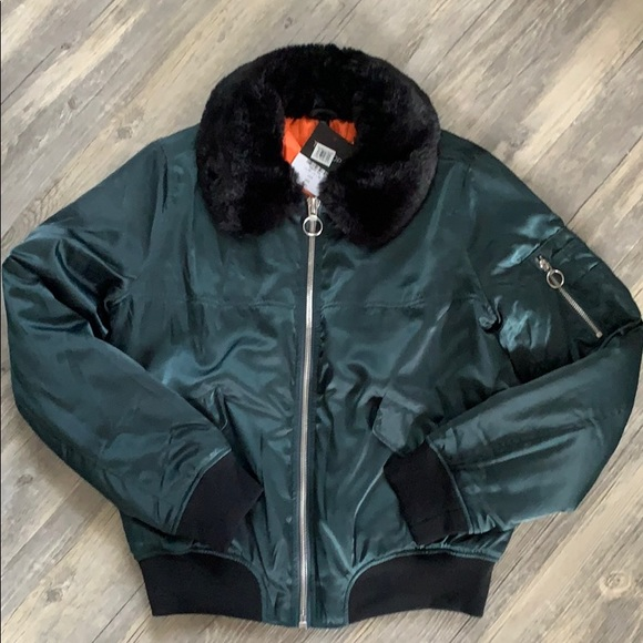 Topshop Jackets & Blazers - Topshop Bomber Jacket with Faux Fur Collar